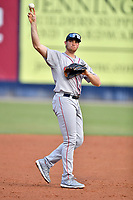 Greenville Drive third baseman Triston Casas (38) during a game against the Asheville Tourists at McCormick Field on July 10, 2019 in Asheville, North Carolina. The Tourists defeated the Drive 1-0. (Tony Farlow/Four Seam Images)