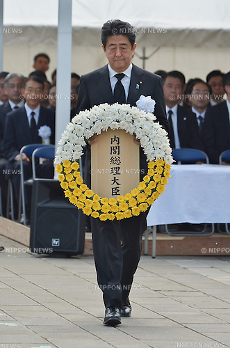 Shinzo Abe, August 9, 2016, Nagasaki, Japan : Japan's Prime Minister Shinzo Abe lays a wreath during a ceremony of marking the 71th anniversary of the atomic bombing at Peace Park in Nagasaki, Japan, on August 6, 2016. (Photo by AFLO)