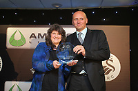 Pictured: Phil Sumbler of the Community Trust (R) Wednesday 18 May 2017<br /> Re: Swansea City FC, Player of the Year Awards at the Liberty Stadium, Wales, UK.