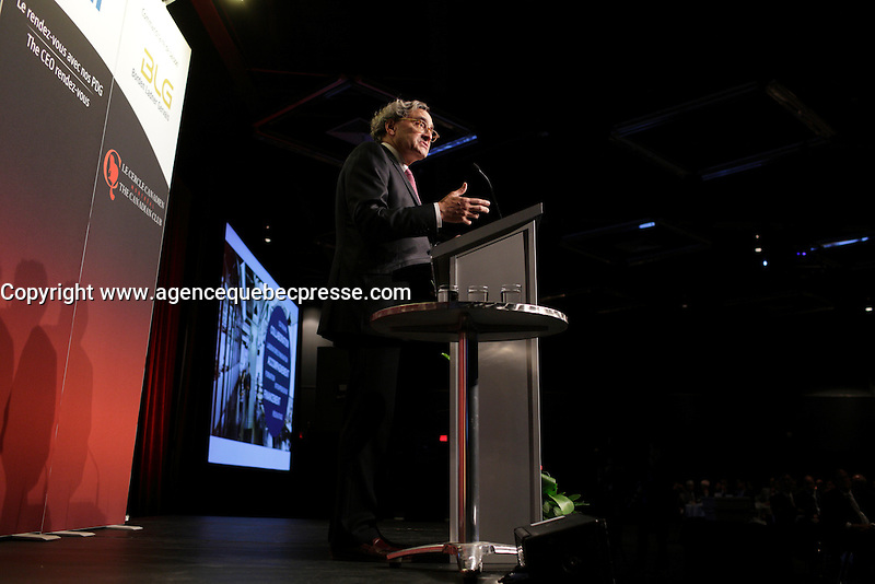 Montreal, canada, May 27, 2015.<br /> <br /> Michael Sabia adress the Canadian club of Montreal on the occasion of la Caisse de depot et placement du Quebec's 50th anniversary,May 27, 2015<br /> <br /> Photo : Pierre Roussel - Agence Quebec Presse