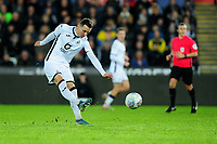Bersant Celina of Swansea City has a shot during the Sky Bet Championship match between Swansea City and Barnsley at the Liberty Stadium in Swansea, Wales, UK. Sunday 29 December 2019