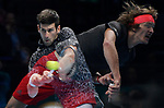 London UK 18h November 2018 Nitto ATP World Tour Finals at 02 Arena London UK Final: Novak Djokovic SRB Vs Alexander Zverev GER double exposure of Djokovic and Zverev in action during the match which was won by
