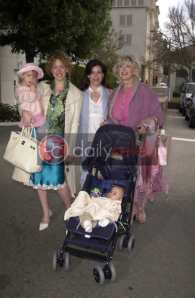 Joely Fisher with daughter Skylar, Tricia Leigh Fisher with son Holden and Connie Stevens