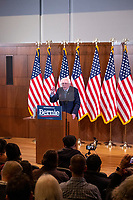 "Democratic presidential candidate and Vermont senator Bernie Sanders delivers his response to President Donald Trump's State of the Union address earlier that night at The Currier Museum of Art in Manchester, New Hampshire, on Tue., Feb. 4, 2020. Sanders' speech began, ""Tonight, we just listened to Donald Trump's third, and what I believe will be his very last, State of the Union Address."""
