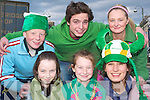 Parade pride: Front l-r Niamh Dineen, Monagea, Amy Liston, Ardagh and.Claudia Cole, South Africa with back l-r Dean Liston, Ardagh, Lewis Stewart,.England and Ciara Liston, Ardagh checking out the passing St Patrick's Day.parade in Abbeyfeale on Monday.   Copyright Kerry's Eye 2008