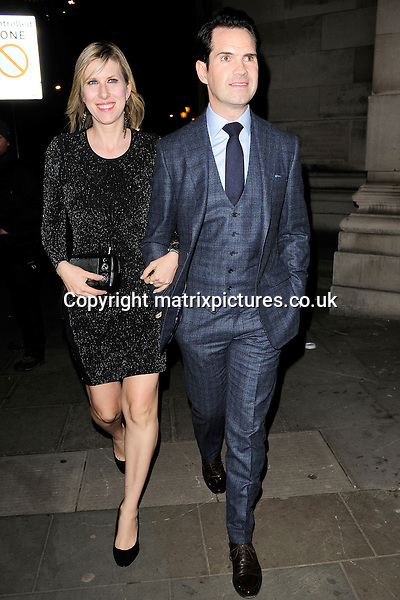 NON EXCLUSIVE PICTURE: MATRIXPICTURES.CO.UK<br /> PLEASE CREDIT ALL USES<br /> <br /> WORLD RIGHTS<br /> <br /> English comedian Jimmy Carr and his partner, Karoline Copping attending The BRIT Awards 2015 Warner Music Group afterparty, at The Freemasons' Hall in London. <br /> <br /> FEBRUARY 25th 2015<br /> <br /> REF: ASI 15640