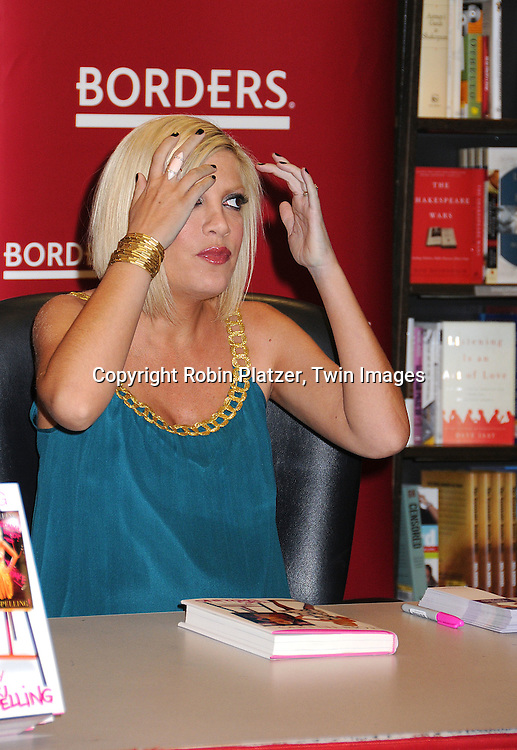 """Tori Spelling in Julie Haas dress..at a book signing for her new book """"sTori Telling"""" on ..March 11, 2008 at Borders at Time Warner Center...Robin Platzer, Twin Images"""