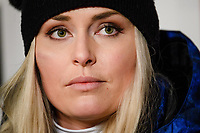 5th February 2019, Are, Sweden;  Lindsey Vonn during a press conference PK Press conference to announce her retirement during the FIS Alpine World Ski Championships on February 5, 2019