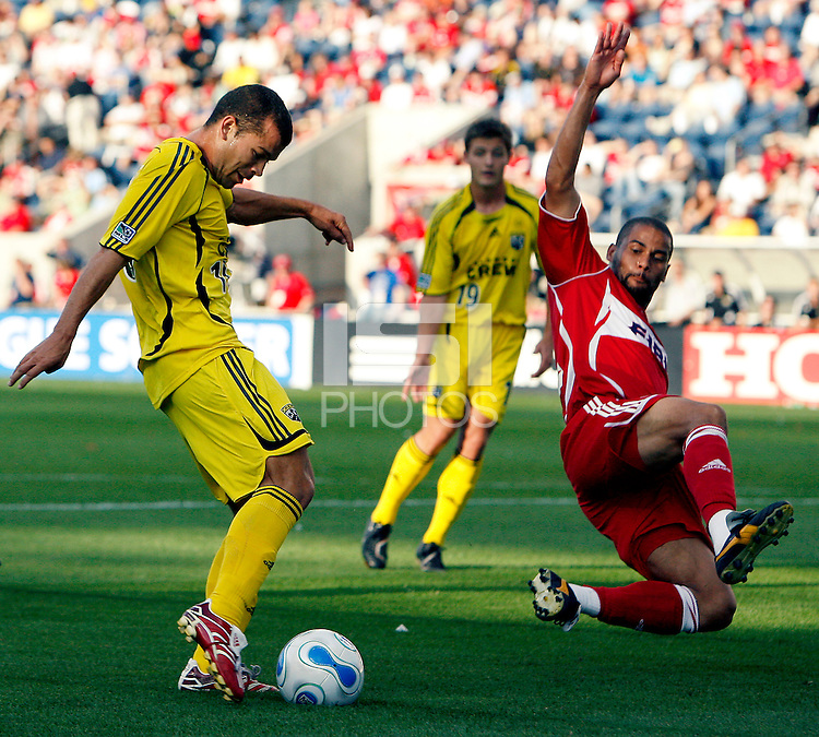Chicago Fire defender C.J. Brown dives to stop a shot by Columbus Crew midfielder Alejandro Moreno (10).  The Chicago Fire defeated the Columbus Crew 3-2 at Toyota Park in Bridgeview, IL on June 3, 2007.