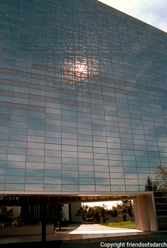 Philip Johnson: Crystal Cathedral--North Facade. Sunlight shining through. Photo '80.