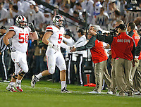 Ohio State Buckeyes tight end Jeff Heuerman (5) is congratulated for his 2nd quarter TD at Beaver Stadium on October 25, 2014.  (Chris Russell/Dispatch Photo)