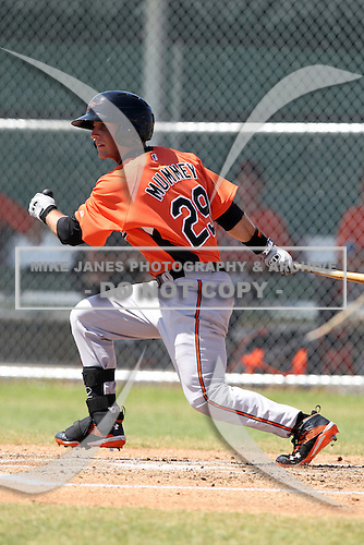 Baltimore Orioles minor league player Trent Mummey #29 during a spring training game vs the Boston Red Sox at the Buck O'Neil Complex in Sarasota, Florida;  March 22, 2011.  Photo By Mike Janes/Four Seam Images