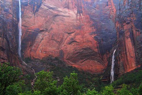 Twin seasonal waterfalls appear after a hard rain at Zion National Park, Utah