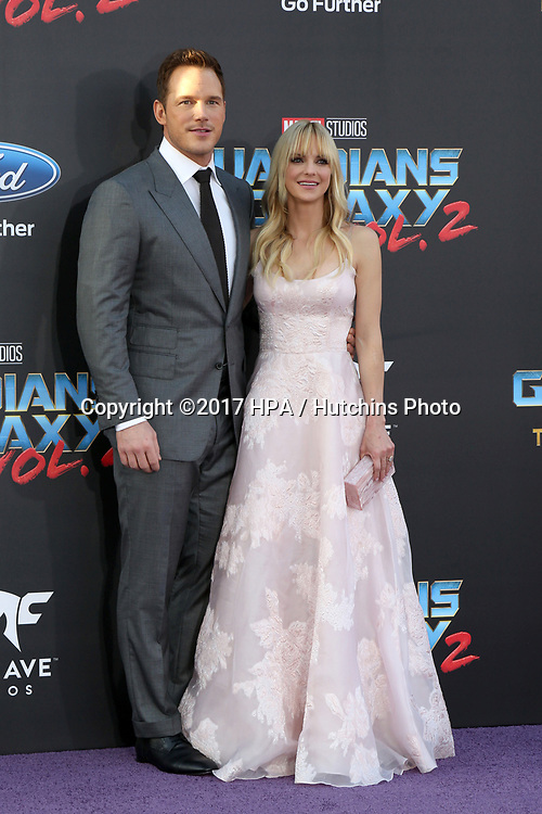 "LOS ANGELES - APR 19:  Chris Pratt, Anna Faris at the ""Guardians of the Galaxy Vol. 2"" Los Angeles Premiere at the Dolby Theater on April 19, 2017 in Los Angeles, CA"