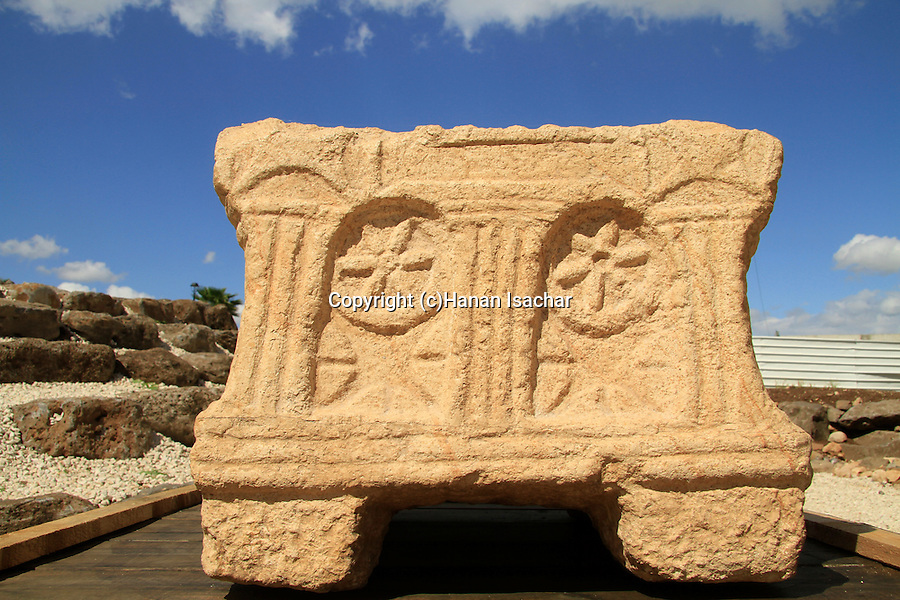 Sea of Galilee, a replica of the stone from the 1st century Synagogue in Magdala Center