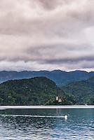 Lake Bled, Slovenia. Church of the Assumption of St Mary on Lake Bled Island, Bled, Julian Alps, Gorenjska, Upper Carniola Region, Slovenia, Europe