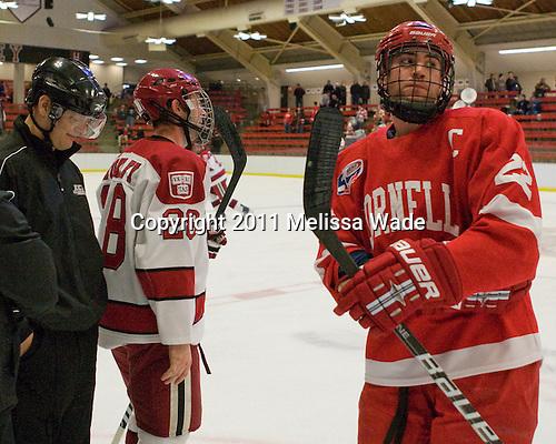 Chris Huxley (Harvard - 28), Joe Devin (Cornell - 22) - The Harvard University Crimson hosted the Cornell University Big Red on Saturday, January 29, 2011, at Bright Hockey Center in Cambridge, Massachusetts.