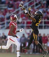 Hawgs Illustrated/BEN GOFF <br /> Anthony Sherrils, Missouri strong safety, breaks up a pass intended for Jordan Jones, Arkansas wide receiver, in the second quarter Friday, Nov. 24, 2017, at Reynolds Razorback Stadium in Fayetteville.