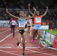Ethiopia's Meseret Defar cross the finish line in the 3000m run coming in at 8:30.29 at the IAAF Diamond League meeting in Stockholm. Mercy Cherono (KEN) comes in second.
