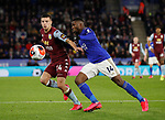 Kelechi Iheanacho of Leicester City takes on Frederic Guilbert of Aston Villa  during the Premier League match at the King Power Stadium, Leicester. Picture date: 9th March 2020. Picture credit should read: Darren Staples/Sportimage