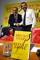 Bruno Vespa, Matteo Salvini<br /> Rome December 12th 2018. Presentation of the book 'Revolution'.<br /> Foto Samantha Zucchi Insidefoto
