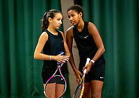 Wateringen, The Netherlands, December 15,  2019, De Rhijenhof , NOJK juniors doubles 12/14/16  years,  Silver Bijlsma (NED) (L) and Megan Caffin (NED)<br /> Photo: www.tennisimages.com/Henk Koster