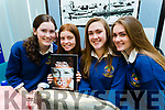 Sadhbh Brosnan, Ciara Brick, Niamh Browne and Doireann Ní Choileáin, students attending Pobalscoil Chorca Dhuibhne, Dingle, pictured with their project 'When i Was Young', at IT Tralee Student Enterprise awards on Friday last.