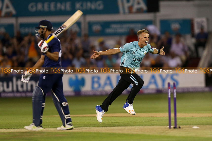 Tom Curran celebrates taking the wicket of Ravi Bopara during Essex Eagles vs Surrey, NatWest T20 Blast Cricket at The Cloudfm County Ground on 7th July 2017