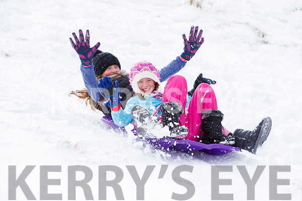 Annabel Walsh and Mia Ryan having fun in snow in Ballybunnion on Friday.