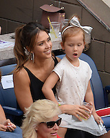 FLUSHING NY- SEPTEMBER 10: Jessica Alba, Honor Marie Warren and Haven Garner Warren are sighted watching Angelique Kerber Vs Karolina Pliskova during the womens finals on Arthur Ashe Stadium at the USTA Billie Jean King National Tennis Center on September 10, 2016 in Flushing Queens. Credit: mpi04/MediaPunch