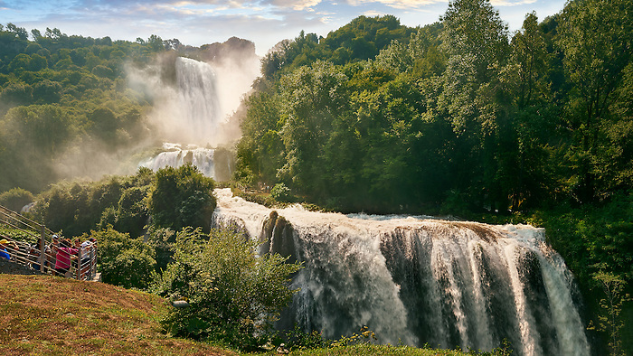 Cascata delle Marmore (Marmore Falls), part of a Roman land drainage system built 271BC, at 165 m (541 feet) high it is one of the higest man made waterfalls in Europe, near Terni, Umbria Italy.