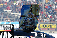 Feb. 22, 2013; Chandler, AZ, USA; Roof hatch of NHRA funny car driver Alexis DeJoria during qualifying for the Arizona Nationals at Firebird International Raceway. Mandatory Credit: Mark J. Rebilas-