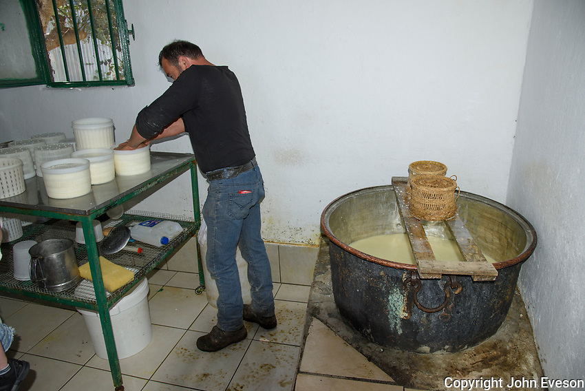 Sheep's milk cheese being made in the Dikti Mountains in the Lasithi region of Crete near Kastamonitsa.