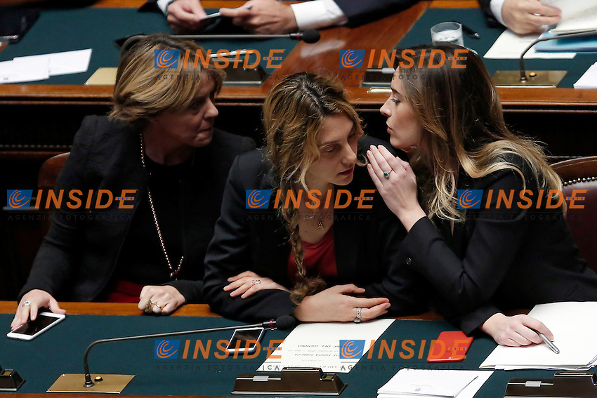 Batrice Lorenzin, Marianna Madia e Maria Elana Boschi <br /> Roma 13-12-2016.      Camera Voto di Fiducia al nuovo Governo<br /> Rome December 13th 2016. Chamber of Deputies. Trust vote to the new Government<br /> Foto Samantha Zucchi Insidefoto