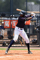 GCL Yankees 1 outfielder Kendall Coleman (34) at bat during the second game of a doubleheader against the GCL Braves on July 1, 2014 at the Yankees Minor League Complex in Tampa, Florida.  GCL Braves defeated the GCL Yankees 1 by a score of 3-1.  (Mike Janes/Four Seam Images)