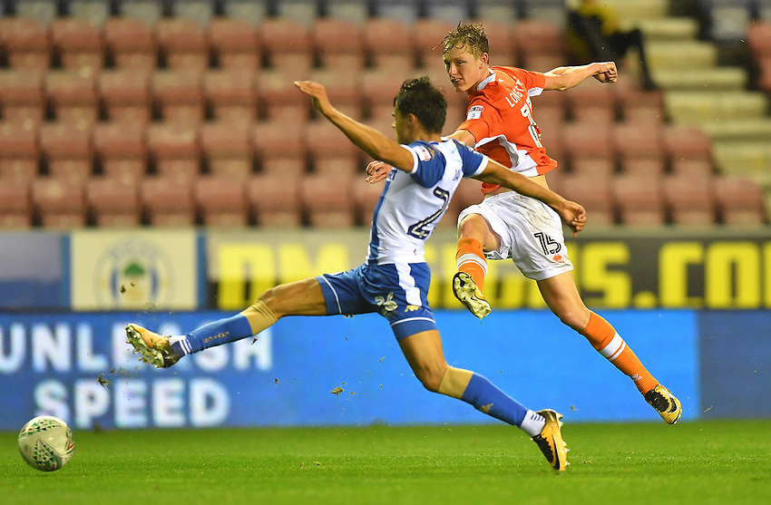 Blackpool's Sean Longstaff<br /> <br /> Photographer Dave Howarth/CameraSport<br /> <br /> The Carabao Cup - Wigan Athletic v Blackpool - Tuesday 8th August 2017 - DW Stadium - Wigan<br />  <br /> World Copyright &copy; 2017 CameraSport. All rights reserved. 43 Linden Ave. Countesthorpe. Leicester. England. LE8 5PG - Tel: +44 (0) 116 277 4147 - admin@camerasport.com - www.camerasport.com