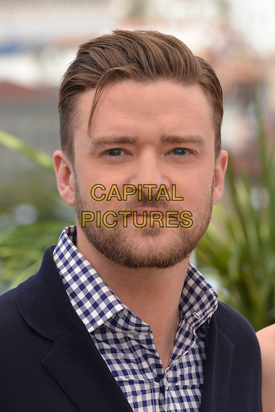 Justin Timberlake.'Inside Llewyn Davis' film photocall at the 66th  Cannes Film Festival, Cannes, France, 19th May 2013..portrait headshot blue and white gingham shirt checked jacket navy beard facial hair .CAP/PL.©Phil Loftus/Capital Pictures.