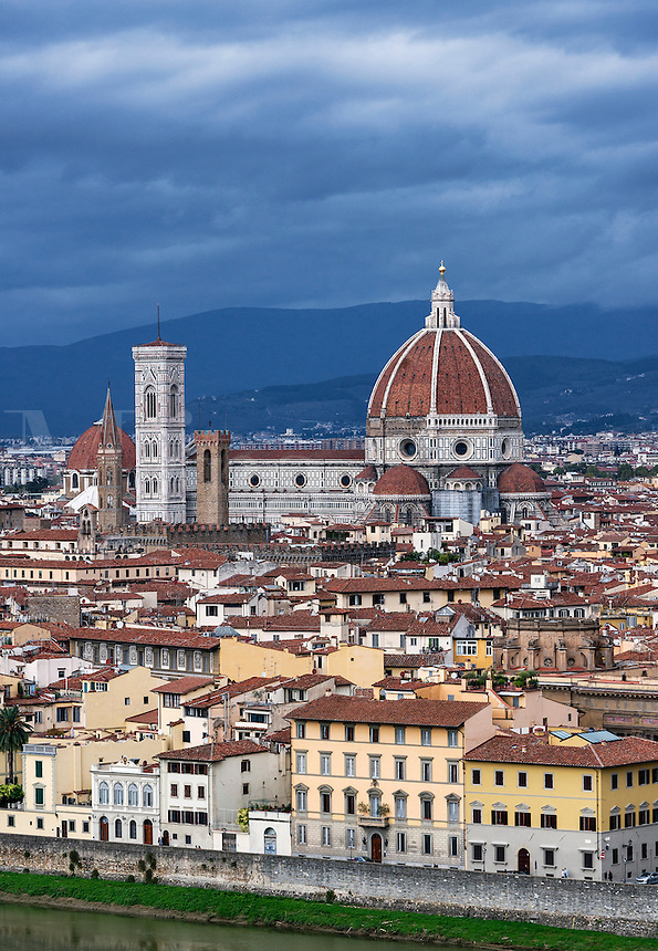 Panoramic view of city and the Duomo architecture, Florence, Italy
