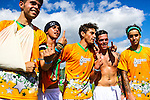 London, UK on Sunday 31st August, 2014. The Janoskians team during the Soccer Six charity celebrity football tournament at Mile End Stadium, London.