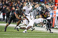 College Park, MD - October 22, 2016: Maryland Terrapins running back Ty Johnson (6) gets tackled by Michigan State Spartans defender during game between Michigan St. and Maryland at  Capital One Field at Maryland Stadium in College Park, MD.  (Photo by Elliott Brown/Media Images International)