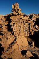 746000018 strange sandstone formations stand watch over the landscape in fantasy canyon a blm property in the middle of a working oil field in northeastern utah united states