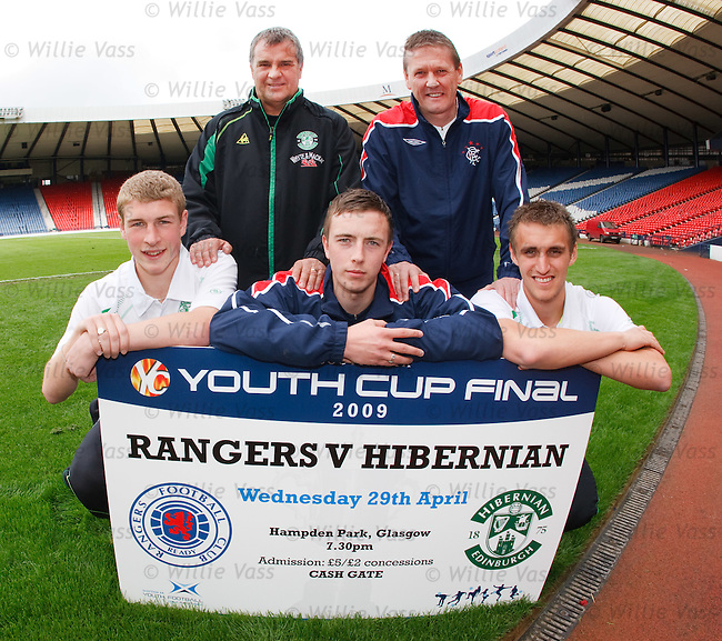 Rangers and Hibs Youth team coaches Billy Kirkwood and Alistair Stevenson at Hampden ahead of Wednesday night's Youth Cup Final with players David Wotherspoon, Danny Wilson and Ewan Moyes