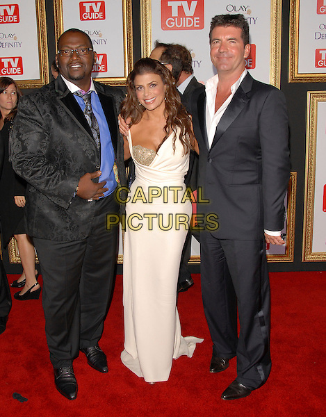 RANDY JACKSON, PAULA ABDUL & SIMON COWELL.attends The TV Guide Post Emmy Party 2007 held at Les Deux in Hollywood, California, USA, September 16 2007.                                                                                         full length white cream long dress gold sparkly glitter bag black suit.CAP/DVS.©Debbie VanStory/Capital Pictures