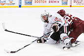 Mike McLaughlin (Northeastern - 18), David Valek (Harvard - 22) - The Northeastern University Huskies defeated the Harvard University Crimson 4-0 in their Beanpot opener on Monday, February 7, 2011, at TD Garden in Boston, Massachusetts.