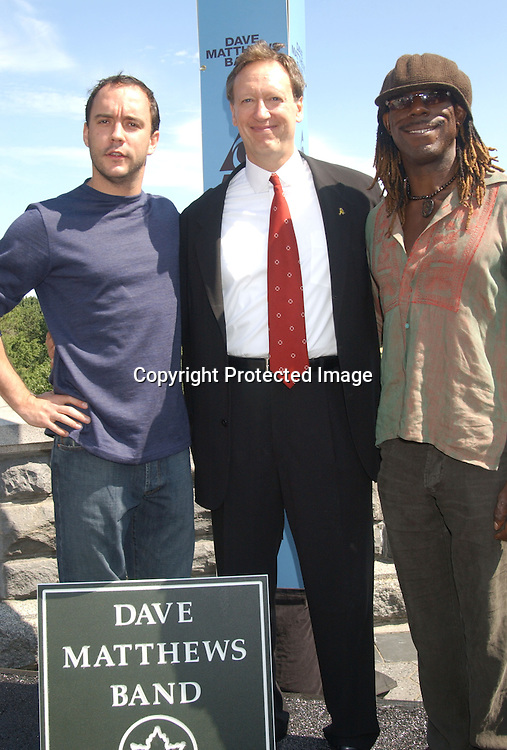 Dave Matthews, Jon Miller and Boyd Tinsley                          .at the announcement of Dave Matthews Band concert on September 12, 2003 in Central Park. The concert will be in .Central Park on September 24, 2003. Photo By Robin Platzer, Twin Images