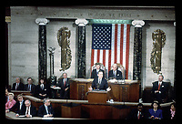 Washington DC., USA, January 31, 1990<br /> President George H.W. Bush delivers his State of the Union Address to the 101st Congress. President Bush spoke of the changes in the world in the last year: the resonation of democracy to Panama, the freeing of Poland and Czechoslvakia from Communist control, and the fall of the Berlin wall. He Also talked about proposed education policy and about the U.S. economy and taxes. Credit: Mark Reinstein/MediaPunch