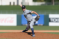 Peoria Javelinas relief pitcher Wyatt Mills (25), of the Seattle Mariners organization, delivers a pitch during an Arizona Fall League game against the Surprise Saguaros at Surprise Stadium on October 17, 2018 in Surprise, Arizona. (Zachary Lucy/Four Seam Images)