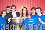 CELEBRATING: Patsy and Helen Sheehan (with the Sam Maguire Cup) celebrate the 10th anniversary of The Grand Hotel, Killarney, on Wednesday night last with Linda Hoare, Kevin Moynihan, Anne OKane and Liam OSullivan..