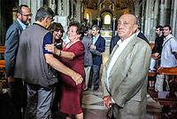 Milano, Livia Pomodoro commossa e il cugino Arnaldo dopo il funerale di Teresa Pomodoro nella Basilica di Sant'Ambrogio --- Milan, Livia Pomodoro moved and her cousin Arnaldo after the funeral of Teresa Pomodoro in the Basilica di Sant'Ambrogio