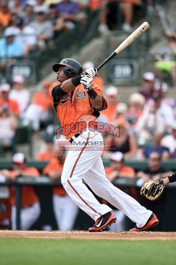 Baltimore Orioles outfielder Nelson Cruz (23) during a spring training game against the Pittsburgh Pirates on March 23, 2014 at Ed Smith Stadium in Sarasota, Florida.  Baltimore and Pittsburgh tied 7-7.  (Mike Janes/Four Seam Images)